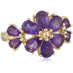 18k Yellow Gold Plated Sterling Silver African Amethyst Floral Ring, Size 7 ($37) found on Polyvore