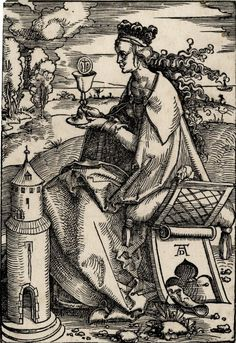 Hans Baldung: St Barbara; whole-length figure, seated on a backless chair facing left;  holding a chalice with a host showing Christ on the Cross; at lower  left a small tower, landscape background; another impression.  c.1505-07 Woodcut