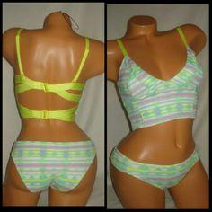 Victoria secret swim suit bikini Small Victoria secret swim suit 2 piece bikini Green and purple  Strappy back Both pieces size small Brand new with tags Victoria's Secret Swim Bikinis