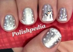 Silver and snow winter Christmas nails, so fun and not too flashy #manicure #nailart #pedicure
