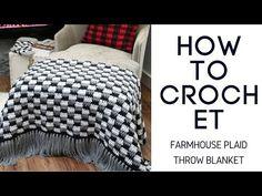 Crochet rustic farmhouse plaid blanket. The easiest way to crochet a plaid blanket Easy beginner-friendly crochet pattern with video