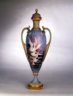 Rising Inflation. When Charles Baldwyn painted this vase with flying swans in 1902 it cost five guineas (one guinea is equal to one pound and 5 pence). A limited edition reproduction of this vase made by Royal Worcester in 2003 was priced at £5,000. #RoyalWorcester #Porcelain