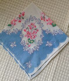 Blue and White Hanky with Pink Flowers by karenslittlebluebarn on Etsy Mother In Law Gifts, Something Blue, Pink Flowers, Barn, Blue And White, Etsy, Barns, Shed
