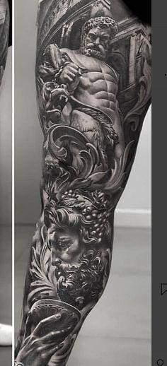 # Geisha Tattoo Source by Sitedetailleplus Zeus Tattoo, Statue Tattoo, Poseidon Tattoo, Hades Tattoo, Forearm Sleeve Tattoos, Full Sleeve Tattoos, Tattoo Sleeve Designs, Leg Tattoos, Tattoos For Guys Leg