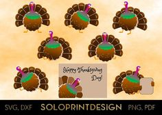 Thanksgiven turkey Bundle - Set of 8 cartoon turkey characters. Fuuny clipart for creating series of thanksgiving items  Please see all product images for better understanding of what is included.  ZIP folder contains SVG, PNG, DXF, PDF files. Background image is NOT included.  PLEASE FEEL FREE to contact me for HELP and SUPPORT in case of experiencing any issues with the files.  More Thanksgiving clipart:  https://www.etsy.com/shop/SoloprintDesign?ref=l2-shopheader-n...