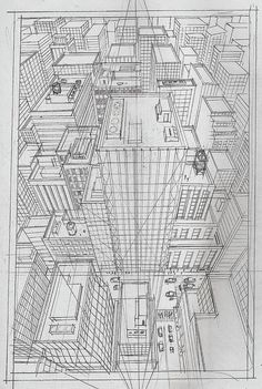 Pin by riina thuren on koulu in 2019 dibujo perspectiva, per Perspective Drawing Lessons, Perspective Sketch, Point Perspective, Ink Pen Drawings, Cool Drawings, Cityscape Drawing, Technical Drawing, Rendering Drawing, Poses References