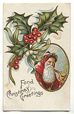 Santa Claus Red Hooded Coat Holly Fond Christmas Greetings, Postcard | eBay