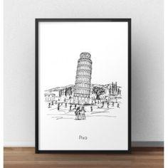 Plakat z Krzywą Wieżą w Pizie we Włoszech