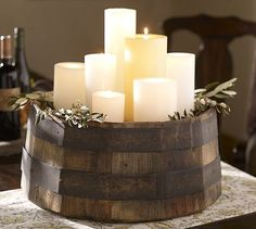pottery barn wine barrel candle tray, this could be an excellent DIY Candle Tray, Pillar Candles, Candle Holders, White Candles, Candle Centerpieces, Pottery Barn, Candle In The Wind, Wine Decor, Interior Decorating