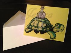 Guinness Beer Turtle with Patron Tequila Blank Note / Greeting Cards by Portland, OR Artist Jessica Lynn on Etsy