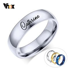 Customized Name Ring With Stainless Steel Stainless Steel Wedding Bands, Stainless Steel Rings, Promise Rings For Him, Simple Solitaire, Friendship Rings, Name Rings, Engraved Rings, Anniversary Rings, Custom Engraving