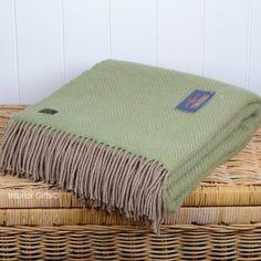 Green Wool Throw or Blanket Tweedmill in Green & Beige Herringbone design weave, sea green Green Wool, Home Decor Inspiration, Herringbone, Picnic Blanket, Wool Throws, Weaving, Beige, Pure Products, Interior