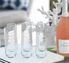 Schooling Fish Stemless Champagne Flute Set