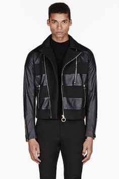 Paul Smith Black Leather Stripe Biker Jacket