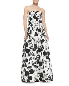 Ava Floral-Print Strapless Gown by Milly at Neiman Marcus.