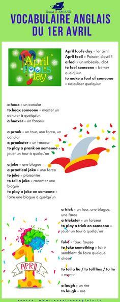 Hey ! C'est le 1er avril ! Happy Fool's Day! Voici une liste de vocabulaire du 1er avril en anglais. Téléchargez mon guide gratuit pour progresser en anglais http://reussirenanglais.fr/guide-cadeau/