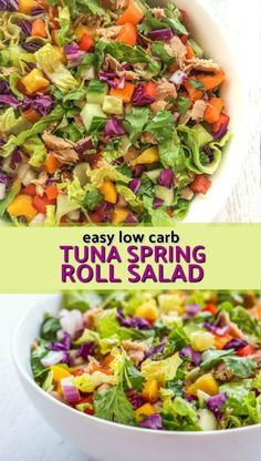 A tasty summer dinner in 15 minutes. Try this low carb, low calorie tuna spring roll salad with StarKist E.V.O.O.™ which is keto friendly! It's healthy and full of color and flavor! AD #tunasalad #summersalad #lowcarbsalad #keto #springroll #thaidressing @starkist #Lowcalorie #starkist Easy Salads, Summer Salads, Shrimp Spring Rolls, Easy Summer Dinners, Cauliflower Risotto, Best Salad Recipes, Dinner Salads, Tuna Salad, Soup And Salad