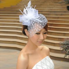Cheap Wedding Fascinators - Wedding and Bridal Inspiration Wedding Fascinators, Wedding Veils, Headpieces, Low Cost Wedding, Feather Hat, Beautiful Wedding Gowns, Wedding Hairstyles, Tulle, Bridal