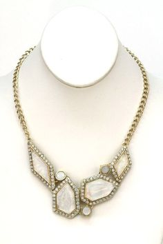 White Faux Stone Necklace. Starting at $1 on Tophatter.com!