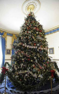 2012 White House Christmas tree decorated by ornaments made by children of military families.  Awesome!