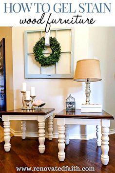 Gel Stain Wood Furniture - No Furniture Striping Required! Gel Stain Furniture, Diy Furniture Projects, Repurposed Furniture, Furniture Makeover, Painted Furniture, Furniture Refinishing, Furniture Stores, Furniture Design, Furniture Buyers
