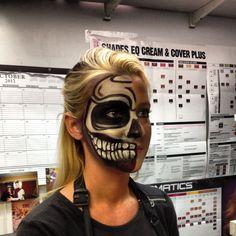 Halloween two faced skeleton makeup