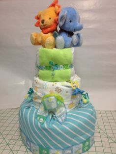 Cute Zoo Animal Diaper Cake for Baby Boy