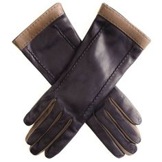 Ladies Black & Light Brown Cashmere Lined Long Leather Gloves To Buy Online