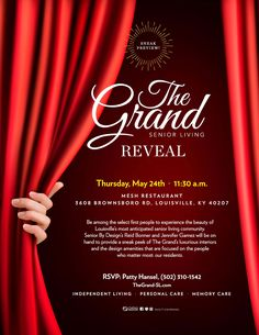 Tomorrows the big reveal! Call Patty to reserve your seat and experience the beauty of Louisville's most anticipated senior living community!