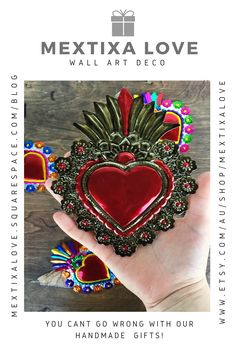 All our handmade metal tin decorations are Good luck charms , Hand Painted they are full of Colorful good vibes!    #Mexicanhanmdae #charmsofgoodluck #walldeco #artwalldeco #Hanmdadecharms #hanmdadewalldeco #bohowalldeco