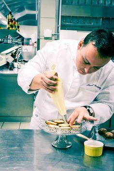 Michelin-starred Chef Lionel Rodriguez in action Action, Restaurant, Coat, Group Action, Diner Restaurant, Restaurants, Coats, Dining