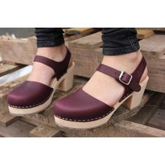 Swedish Clogs Highwood Aubergine Leather by Lotta from Stockholm / Wooden Clogs / Summer Sandals / High Heel / Mary Jane Shoes / Eggplant / Clogs Shoes, Sock Shoes, Shoe Boots, Heeled Clogs Sandals, Oxfords, Crazy Shoes, Me Too Shoes, Lotta From Stockholm, Swedish Clogs