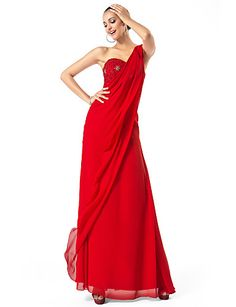 Sheath/Column One Shoulder Floor-length Chiffon Evening/Prom Dress - USD $ 129.99