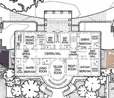 Second Floor - White House Museum White House Usa, White House Interior, White House Tour, New House Plans, House Floor Plans, White House Washington Dc, House Blueprints, House Rooms, Second Floor