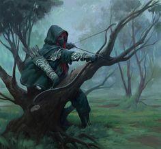 Morning fog арт, Jonny Hall, лес, лучник