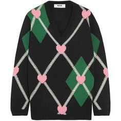 MSGM Intarsia wool-blend sweater (11.209.500 VND) ❤ liked on Polyvore featuring tops, sweaters, black, multicolor sweater, vintage sweaters, msgm sweater, colorful sweaters and heart sweaters