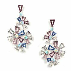 #Wholesalejewelry #Charlestone #jewelry 41381-1M | Silver Multiple Color Rhinestone 4 Mixed Size Flower Shape Dangle Earrings