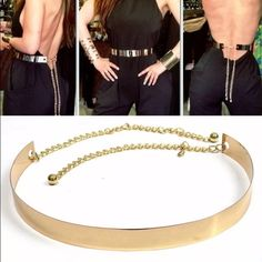"""Women's gold colored belt Material: METAL  Color: GOLD  Size information:  Full-length:  Metal Plate: 27.5"""" (70CM)  Chain: 15.7""""(40CM) REMOVABLE  Wide: 1.37""""(3.5CM)  Fit to waist: 30""""-36"""" Accessories Belts"""