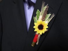 This unique boutonniere is perfect for your hunter! This is our original idea so you wont find anything like this! We have filled a shotgun shell