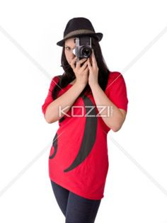 taking pictures - An emo girl takes picture with her camera