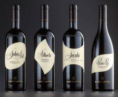 Contratto Wine Bottle Design, Wine Label Design, Wine Bottle Labels, Wine Packaging, Packaging Design, Bottle Shoot, Wine Logo, Wine Photography, Wine Brands