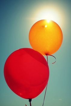 yellow and red: balloons
