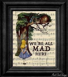 Rockcreekvintage on Etsy. Actual link for the Alice in Wonderland sheet music art.