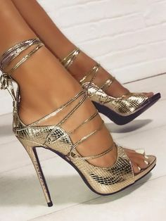 2401b37de191d2 Snakeskin Lace-Up Thin Heeled Sandals Designer Party Dresses