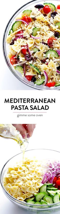Mediterranean Pasta Salad -- quick and easy to make, and tossed with a tasty lemon-herb vinaigrette | http://gimmesomeoven.com