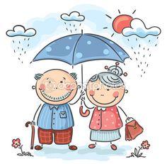Šťastný karikatura prarodiče — Stocková ilustrace #54091737
