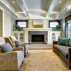 Raised Hearth Fireplace With Cabinets Design Ideas, Pictures, Remodel, and Decor - page 7