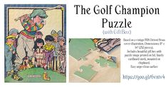 """The Golf Champion Puzzle with Gift Box.  One for the golfer's amusement. Based on a vintage 1926 Detroit News cover illustration. Dimensions: 11"""" x 14"""" (252 pieces). Includes beautiful gift box with puzzle image printed on lid. Sturdy cardboard stock, mounted on chipboard. Easy wipe-clean surface https://www.zazzle.com/the_golf_champion_puzzle_with_gift_box-116013733514770863 #golf #puzzlegame #kids #giftidea #jigsaw"""