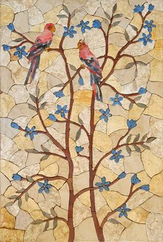 Birds on trees Mosaic Stone Art Mural Floral Design Decoration Butterfly Mosaic, Mosaic Birds, Mosaic Flowers, Mosaic Artwork, Mosaic Wall Art, Tile Art, Marble Mosaic, Diy Artwork, Mosaic Mirrors