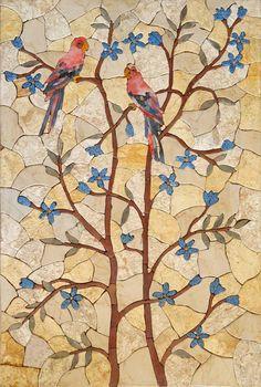 Birds ON Trees Mosaic Stone ART Mural Floral Design Decoration